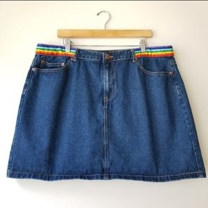 Forever 21 Rainbow Pride Denim Mini Skirt